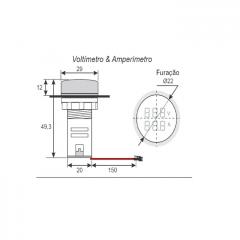 VOLTIMETRO/AMPERIMETRO DIGITAL 22MM 60~500VCA / 0~100A VERDE SIBRATEC