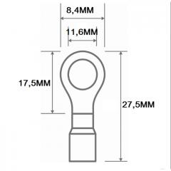 TERMINAL PRE-ISOLADO TIPO ANEL 0,5 X 1,5MM  FURO 8,4 TPA1010